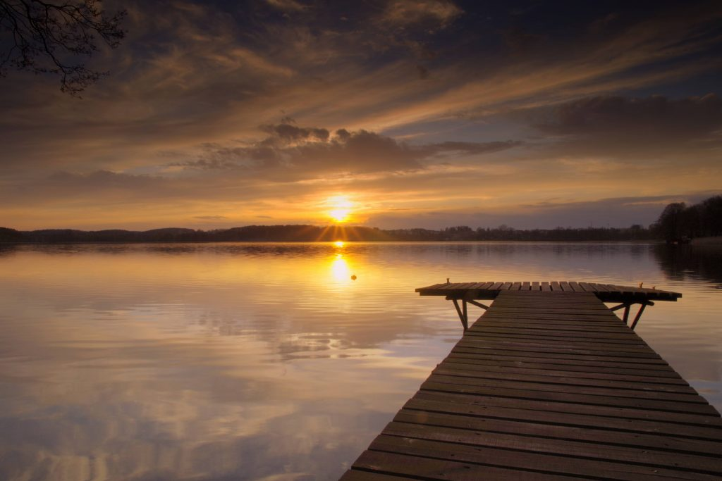 restful lake sunset